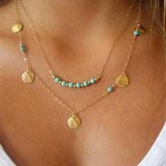 Multi-Layer Round Pendant Necklace With Short Clavicle Chain For Female | Edlpe