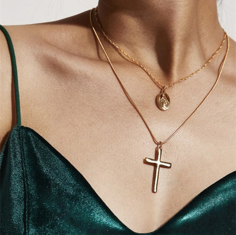 Bohemian Multilayer Cross Pendant Necklace For Women Vintage Party Charms Choker Necklace | Edlpe