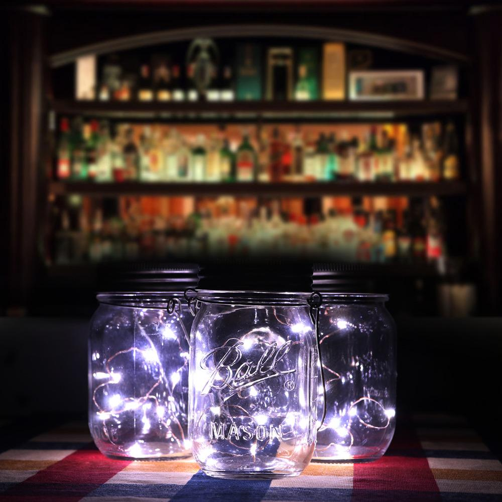 1X/3X Glass Mason Jars Lid Light Led Christmas Party Wedding Solar String Lights | Edlpe