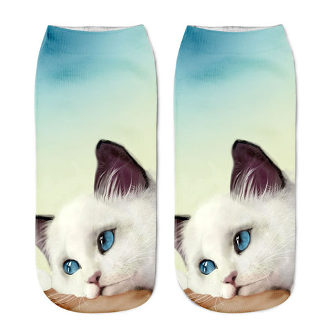 Lovely 3D Print Cotton Ankle Socks Casual Cat Cartoons Cute Art Women Sock Girl | Edlpe