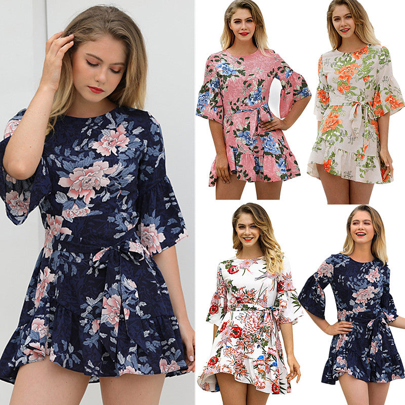 Summer Women High Waist Flare Sleeve Ruffle Dress Floral Swing Mini Dress Party Casual Dresses | Edlpe