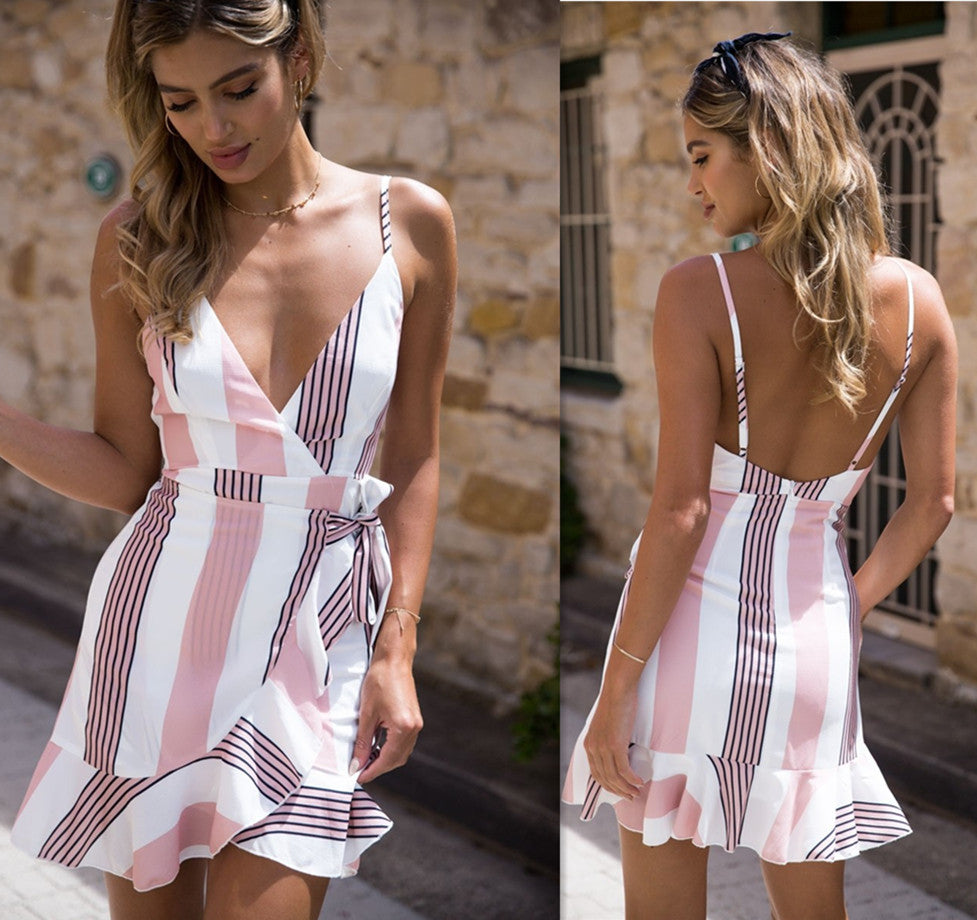 Women Summer V Neck Bodycon Party Sleeveless Striped Floral Short Mini Dress Backless Ruffle Dresses | Edlpe