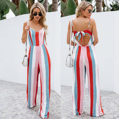 Women Summer V-Neck Backless Bowknot Sling Long Jumpsuit Casual Striped Playsuit | Edlpe