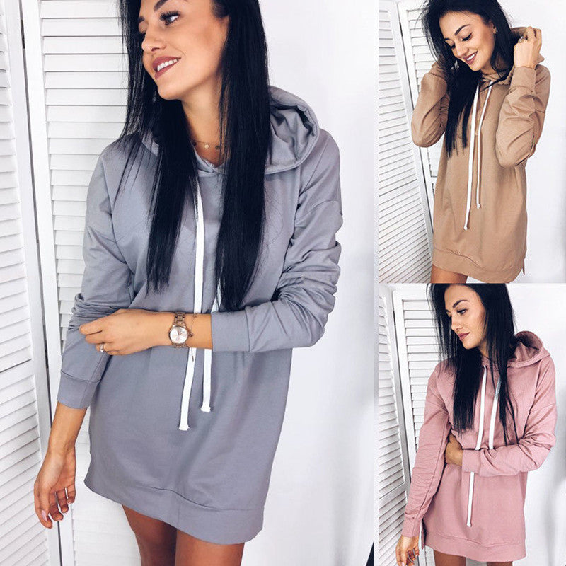 Women Loose Long Sleeve Hoodie Dress Ladies Jumper Pullover Sweatshirt Tops | Edlpe