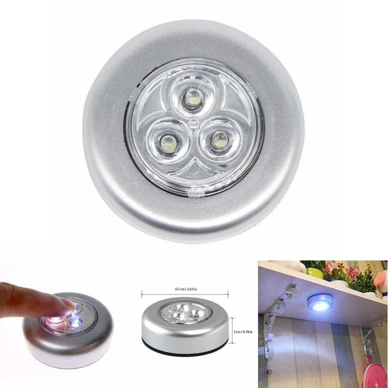 3 Led Home Wardrobe Touch Lights Battery Powered Push Tap Stick On Click Lamps | Edlpe