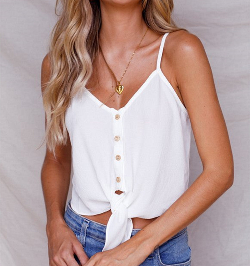 Womens V Neck Summer Tank Vest Lace Up Tops Blouse Casual Crop Cami T Shirt | Edlpe