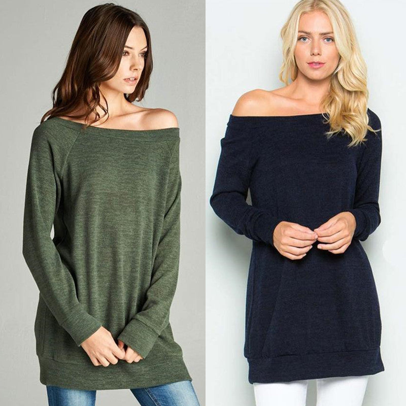 Women Off Shoulder Plain Casual Autumn Blouse Ladies Summer Sexy Sweatshirt | Edlpe