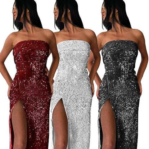 Women Off Shoulder Bling Sequin Bodycon Long Dress Solid Sexy Evening Gown Party Dress