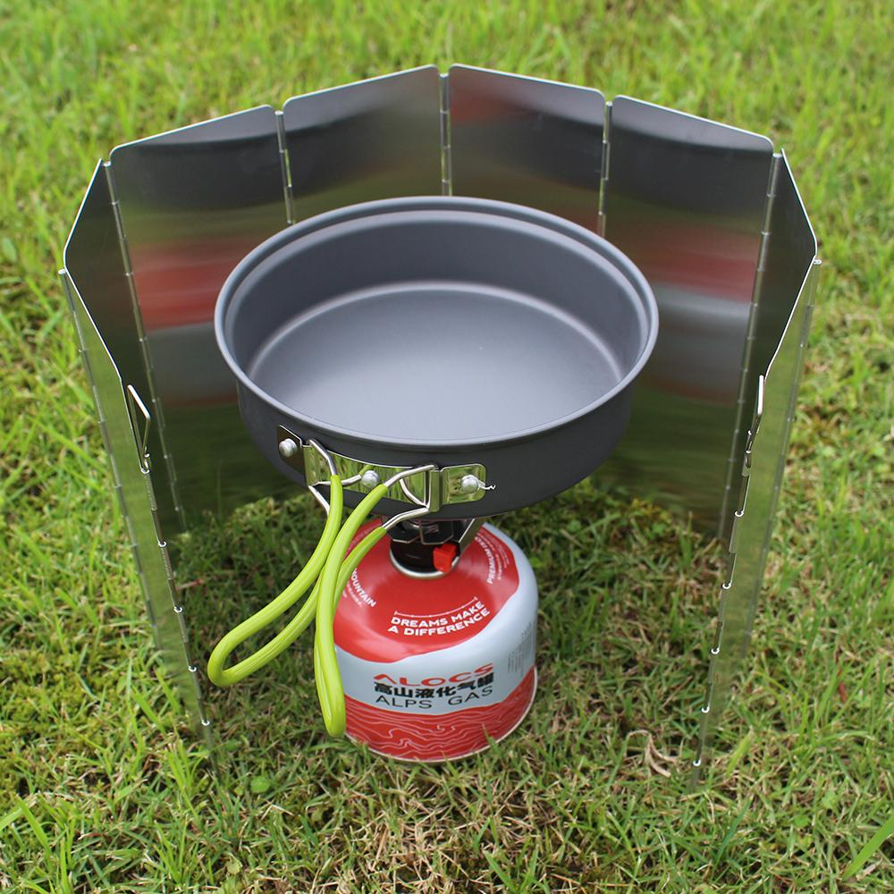 8 Plates Foldable Burner Windshield Outdoor Cooking Gas Stove Wind Screen Shield Camping Equipment | Edlpe