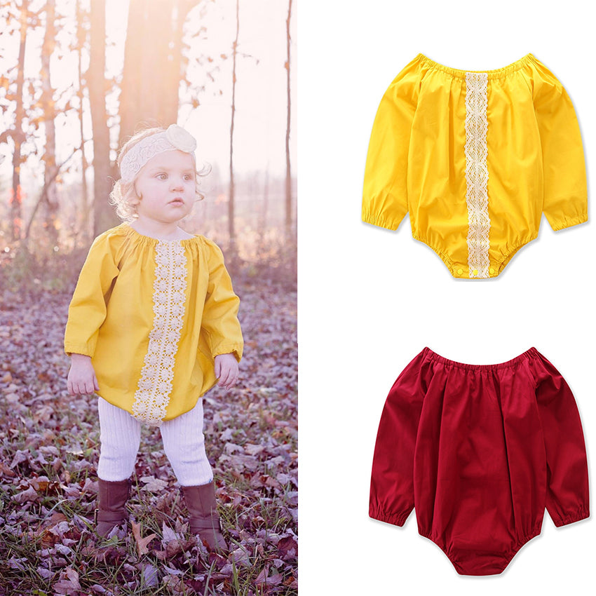 Autumn Fashion Newborn Baby Girls Clothes Romper Long Sleeve Triangle Jumpsuit Toddler Girl Clothing | Edlpe