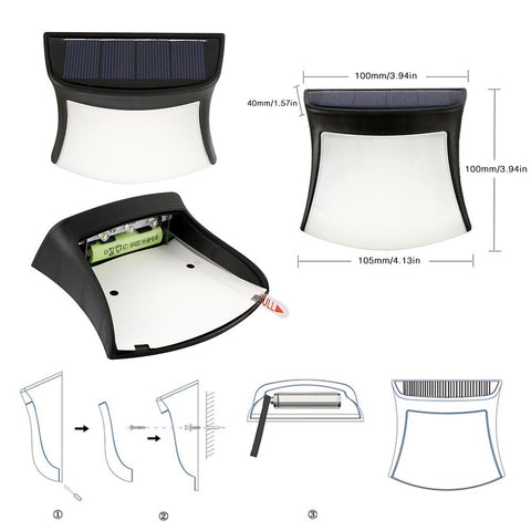 Outdoor Led Solar Light Lamp Waterproof Ip44 Simple Design Solar Led Wall Lamp Energy Saving Light | Edlpe
