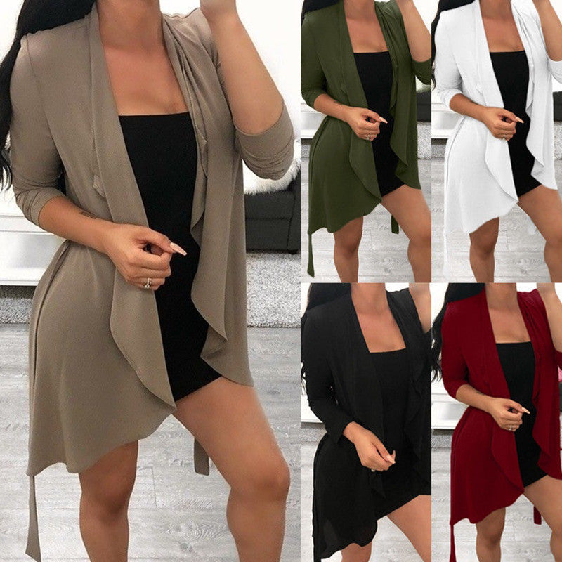 Women Waterfall Loose Kimono Cardigan Belt Short Casual Jacket Tops Plus Size | Edlpe