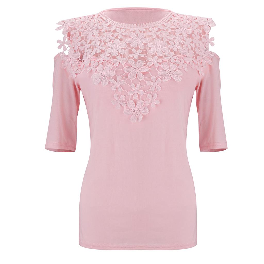 Summer Women Floral Lace Half Sleeve T Shirt Tops Casual Solid Cold Shoulder Blouse | Edlpe
