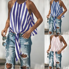 Women Sleeveless Striped Lace Up Vest Tank Top Summer Casual Blouse Cami Tee | Edlpe