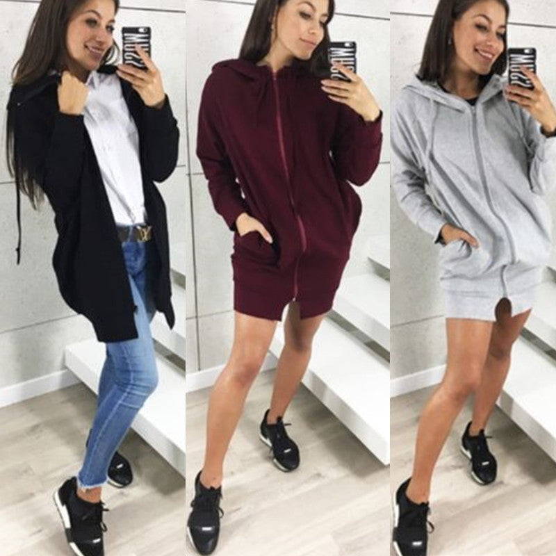 Women Long Coat Zipper Hoodie Jackets Solid Autumn Winter Casual Loose Overcoat | Edlpe