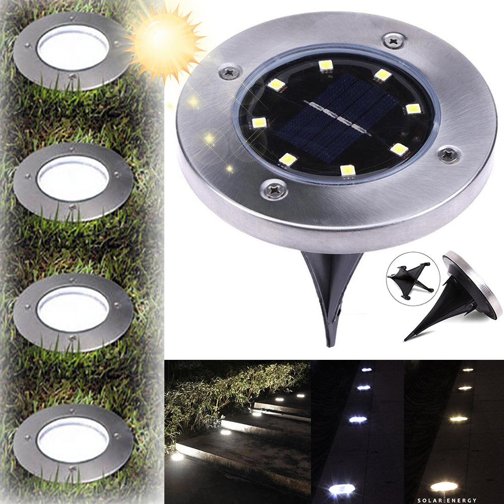 8Led Solar Power Stainless Steel Buried Light Under Ground Lamp Outdoor Path Way Garden Park Decking | Edlpe