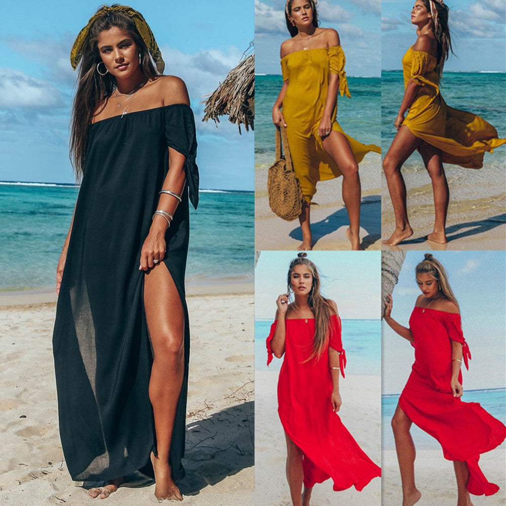 Womens Off Shoulder Summer Beach Long Maxi Dress Evening Party Dress Cover Up Kaftan Dresses | Edlpe