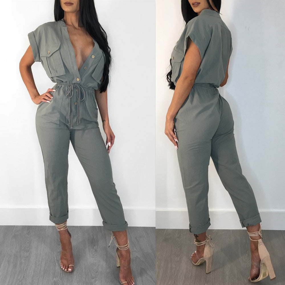 Women Short Sleeve Dungarees V-Neck Long Playsuit Jumpsuit Romper Pant Trousers | Edlpe