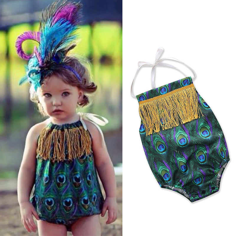 Newborn Toddler Baby Girl Peacock Print Romper Jumpsuit Bodysuit Outfits Clothes | Edlpe