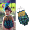Image of Newborn Toddler Baby Girl Peacock Print Romper Jumpsuit Bodysuit Outfits Clothes | Edlpe
