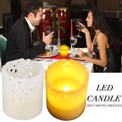 Romantic Artistic Carving Candle Nightlight Flameless Flickering Lamp Battery Operated | Edlpe