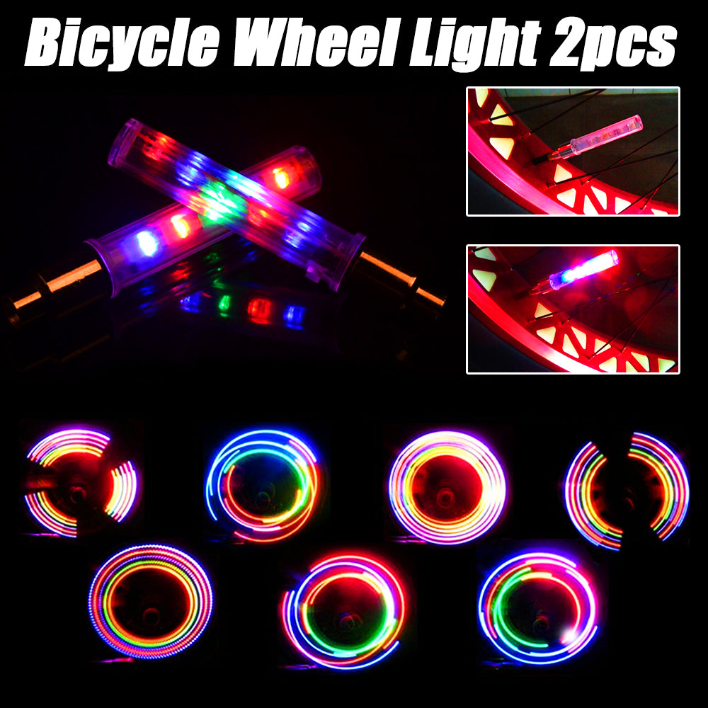 2Pc Bike Car Motorbike Neon Led Tire Tyre Wheel Spoke Valve Flash Light Dust Cap | Edlpe