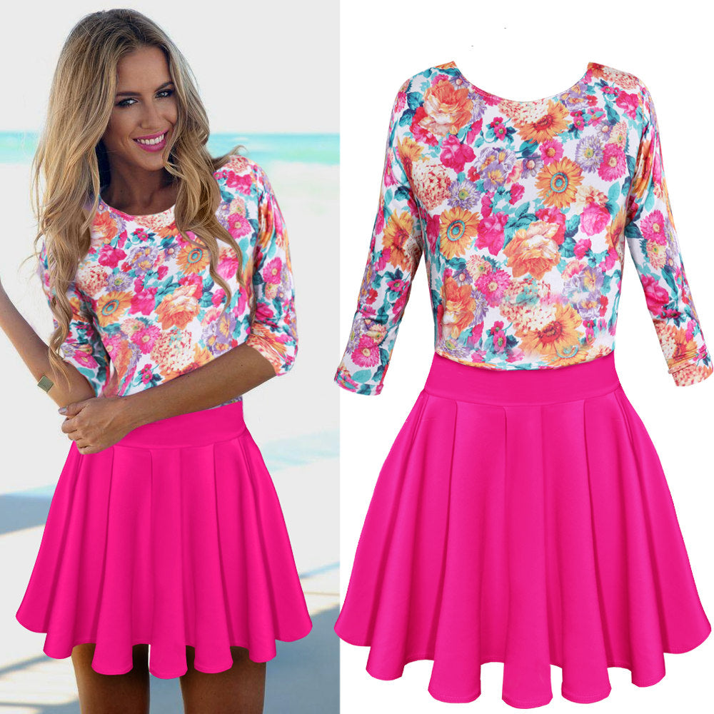 Womens Floral Party Cocktail Mini Dress Ladies Summer Long Sleeve Skater Dresses | Edlpe