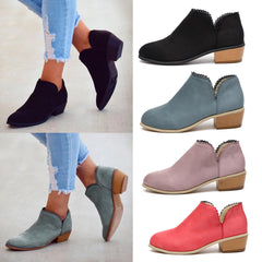 Women Floral Edge Ankle Boots Ladies Low Heel Slip On Shoe Solid Color Booties | Edlpe