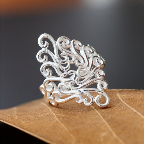 Women Hollow Shape Wedding Engagement Bridal Princess Ring Jewelry Thumb Band | Edlpe