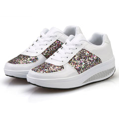 Women Sneakers Golden Sequin Waterproof Ladies Flat Shoes Lace Up Casual Sport Shoes