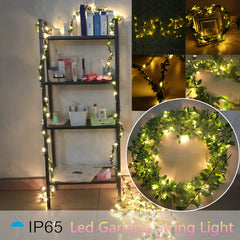 Leaf Garland Battery Operate Copper Led Fairy String Lights Wedding Party Decor | Edlpe