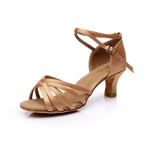 Womens Modern Ballroom Latin Tango Dance Shoes 5Cm High Heel Ankle Buckle Sandals Party Shoe | Edlpe