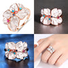 Image of Women Jewelry Rose Gold Multi Petal Flower Ring Lady Wedding Rings Gift | Edlpe