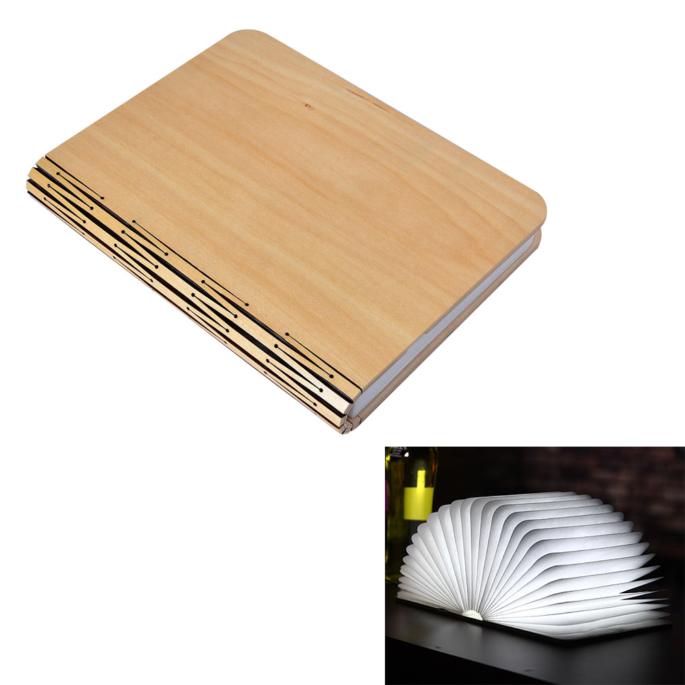 Led Night Light Folding Book Light Usb Port Rechargeable Wooden Magnet Cover Home Table Desk Lamp | Edlpe
