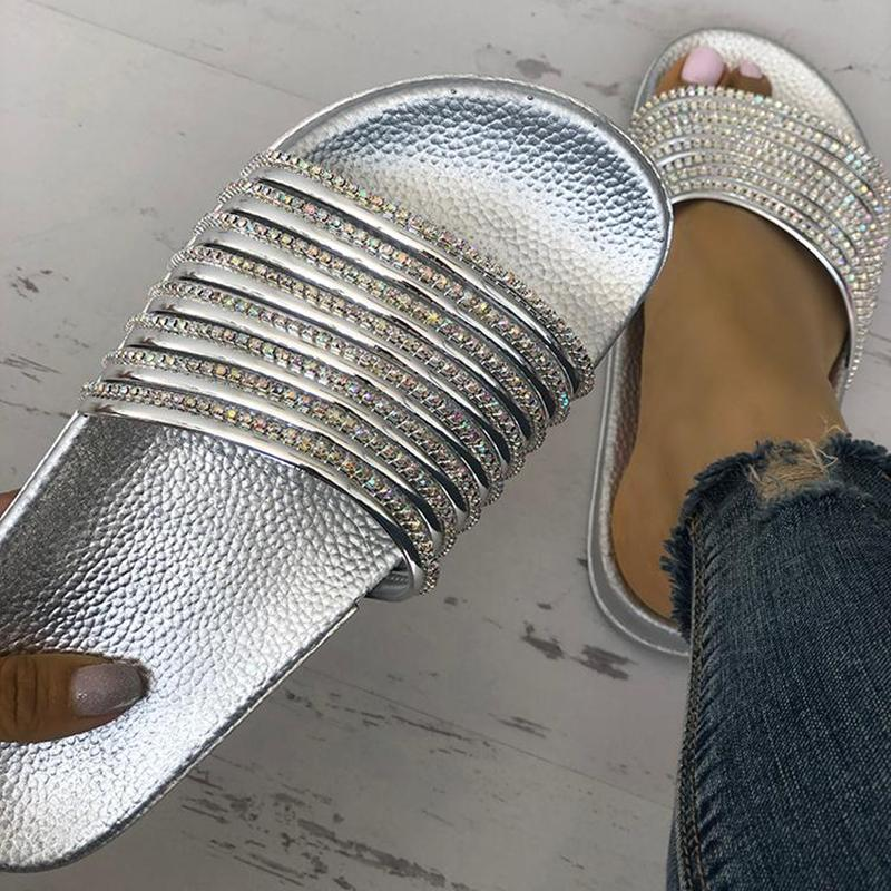Fashion Women Diamante Decor Slippers Summer Slip On Flat Shoes Bling Sandals | Edlpe