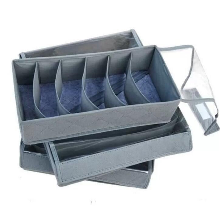 3 Pcs Foldable Bamboo Charcoal Organizer Storage Box Drawer Set For Bra Underwear Tie Socks Closet | Edlpe