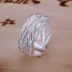 Fashion Jewlry Women Silver Adjustable Opening Small Mesh Ring