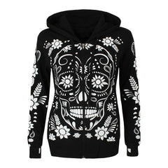 S-5XL Plus Size Women Vintage Skull Print Hooded Zipper Coat Autumn Spring Casual Tops Sport Hoodie