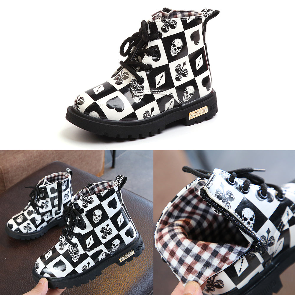 Fashion Kids Poker Martin Boots Flower Pu Leather Waterproof Lace Up Casual Child Boots Shoes | Edlpe