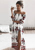 Image of White Off The Shoulder Print Split Long Dress | Edlpe