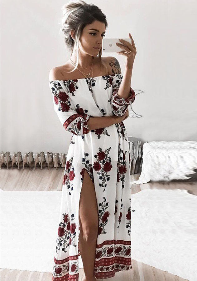 White Off The Shoulder Print Split Long Dress | Edlpe