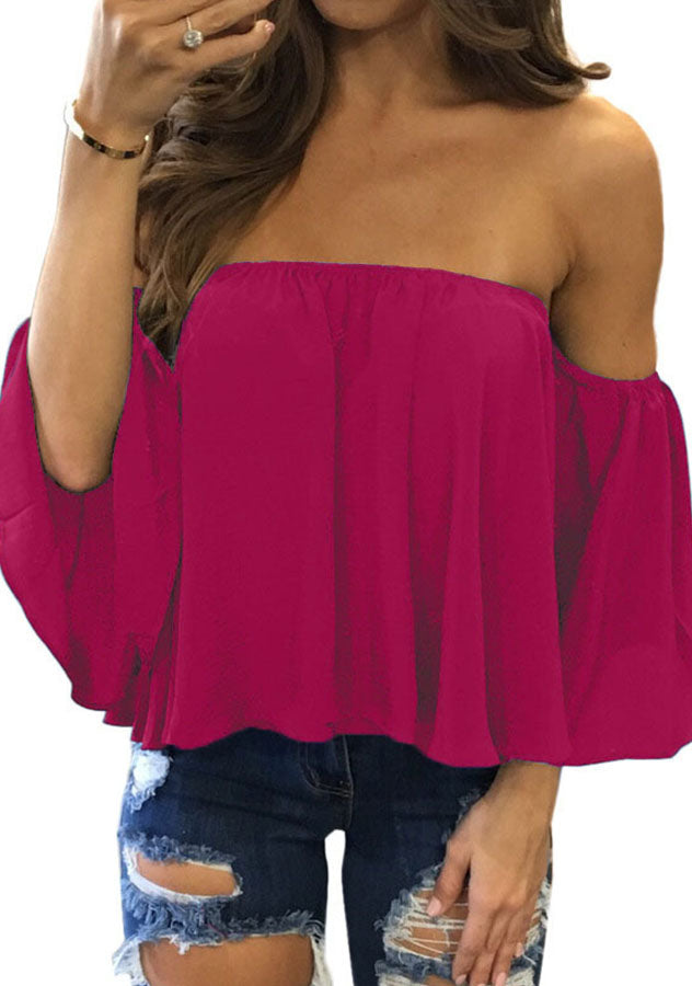 Women Fashion Off Shoulder Casual Vacation T-Shirt | Edlpe