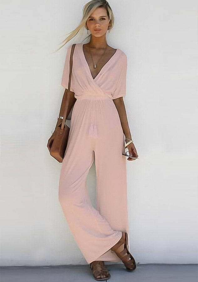 V Neck Loose Playsuit Party Short Sleeve Long Jumpsuit | Edlpe