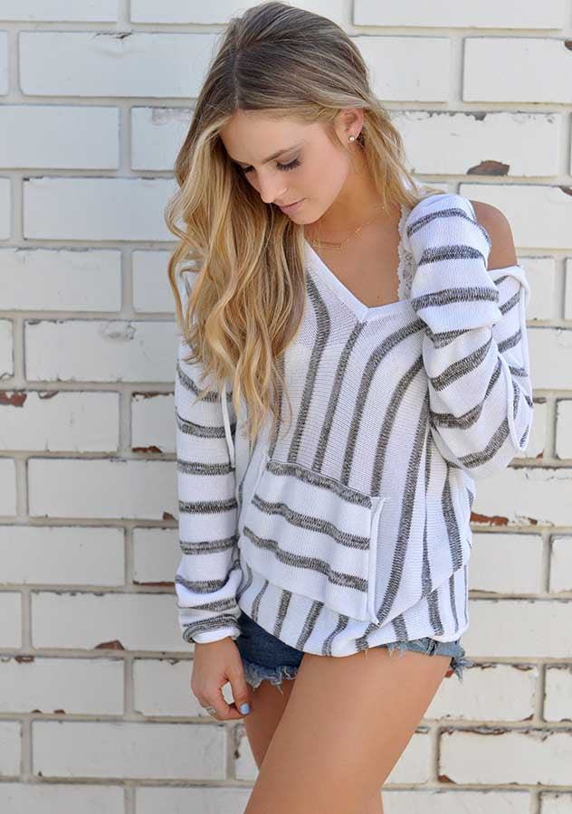 Long Sleeves Stripe Thin Pullover Hoodie | Edlpe