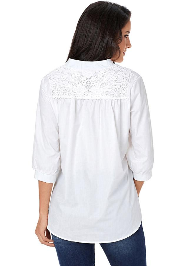 Women White Casual V Neck Lace Three-Quarter Length Sleeves Blouse | Edlpe