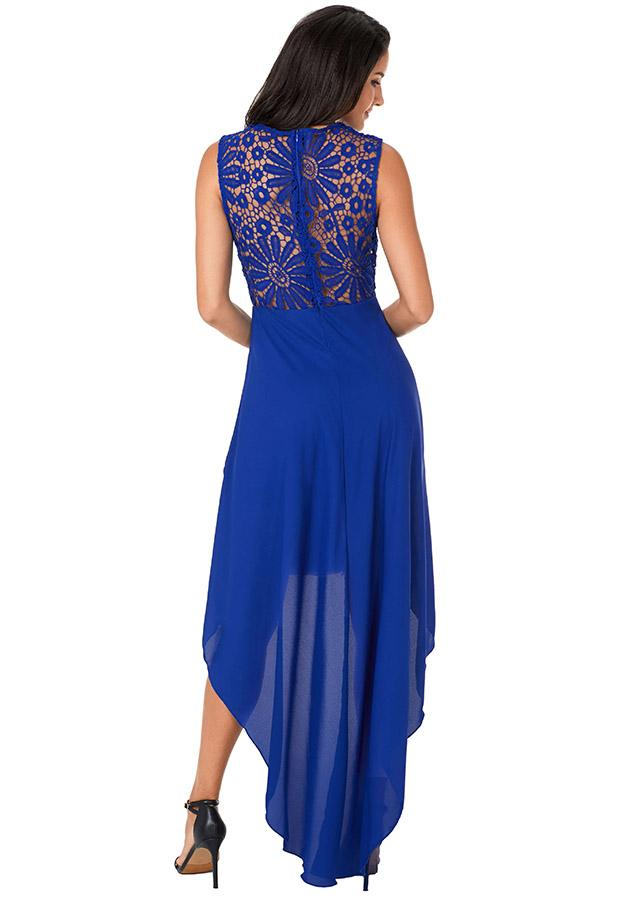 Women Elegant Sleeveless Lace Cocktail High-Low Dress | Edlpe