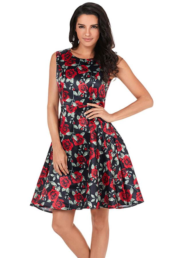 Casual Rose Print Vintage Sleeveless Women Fitted Waist Cocktail Evening Party Dress | Edlpe