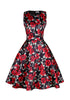 Image of Casual Rose Print Vintage Sleeveless Women Fitted Waist Cocktail Evening Party Dress | Edlpe