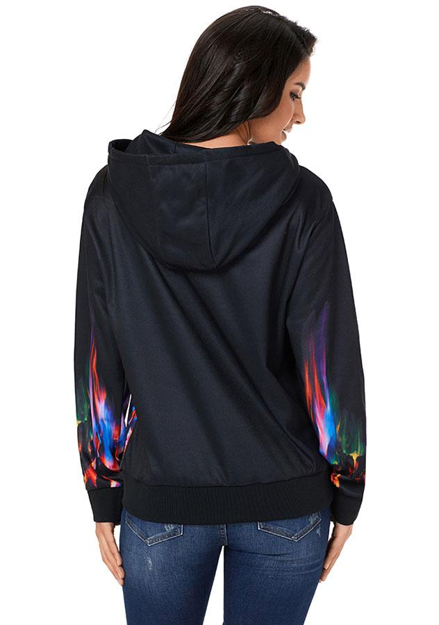 Color Flame Long Sleeves Black Thicken Hoodie | Edlpe