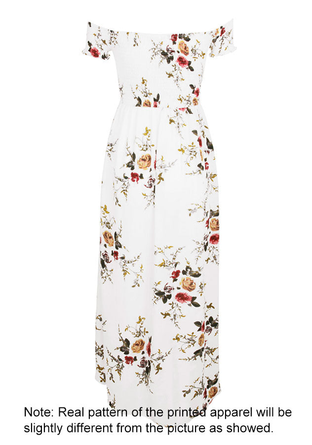 Women Floral Print Off The Shoulder Long Dress | Edlpe